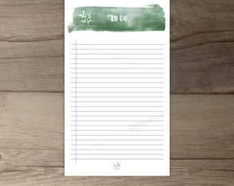 Printable To-Do list •todo list notepad organizer • Watercolor •leaves • printable