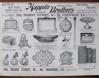 Mappin Brothers, 1899, vintage, ad, original, English, advertisement, household items, accessories, free shipping, paper, ephemera