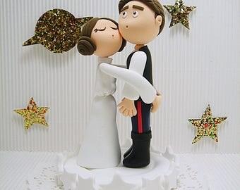 Funny Star wars theme Han solo and Princess Leia Custom wedding cake topper