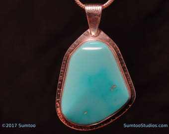 Sleeping Beauty Turquoise in Argentium Sterling Silver Pendant