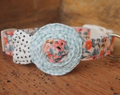 Peach Flower Dog Collar - Peach Rifle Paper Co with Blue Gingham Flower and Cream/Black Dot Leaves