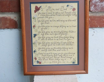 Mom and Dad Painted Illustrated Calligraphic Verse/Poem/Matted Frame/Wall Hanging