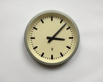 """11.8"""" Diameter Vintage German Industrial wall clock from RFT / Gerätewerk Leipzig. 1960s. Gray Metal Rim. Made in Germany. 2017-008"""