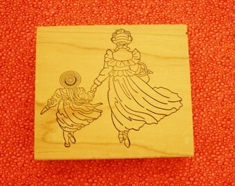 Mother and Daughter Walking / Large Rubber Stamp / Large Rubber Stamps / Stamps Happen