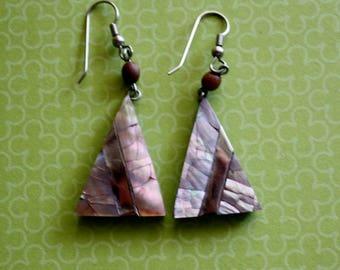 Abalone Triangular Pierced Earrings/ Vintage Pierced Earrings