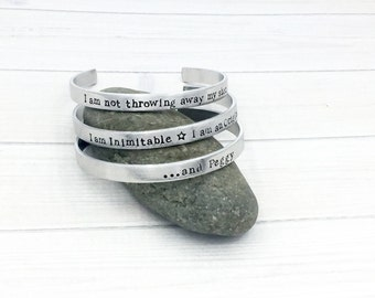 Hamilton Cuff Bracelet • Hamilton Fan Gift • Rise Up • Not Throwing Away My Shot • Inimitable Original • Young Scrappy & Hungry