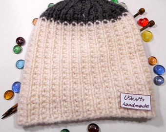 Knit slouchy beanie - oversized hat - women hat - men beanie - winter hat - unisex beanie - white hat -gift for women - gift for men