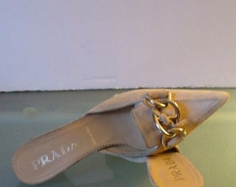 Prada Suede  Made in Italy Kitten Heel Slides 35EU