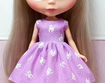 SALE...BLYTHE doll Its my party dress - kittens on purple