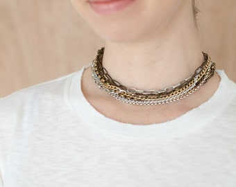 Multi Strand ChainChoker-Multichain Necklace-Multistrand Choker-Mixed Metals-Gifts for Her-Mothers Day Gift-Gift for Mom