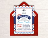 Ahoy It's A Boy Invitation - Nautical Baby Shower - Printable Baby Shower Invitation - Anchor Baby Shower - Nautical Theme Shower - D004