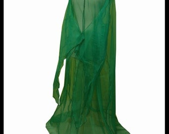 Beautiful Green Shimmer Organza Cloak with Sleeves. Ideal for a Summer Wedding, Handfasting or Medieval Event. Made Especially For You.