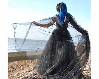 Beautiful Shimmer Organza Cloak with a train. Ideal for a Wedding, Handfasting or Medieval Event. Made to Order!
