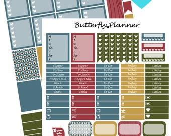 Sweater Weather Printable Planner Stickers, 2 Pages, Digital Download