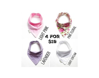 Baby Bandana Bib Scarf Set in Cream, Light Pink, Lavender, and Pink Floral Jersey Knit with Snap Closure for Boy or Girl