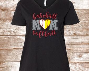 Baseball Softball Mom - Baseball Shirt - Baseball Mom Shirt - Softball Shirt - Love Baseball - Sports - Gift for Mom- Sports Mom - Heart