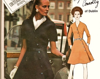 70's FAB Vogue Couturier Design Pattern 2324 Sybil Connolly Diagonal Front Button Dress PLUS Size 40 (22) w LaBeL Uncut FF Sewing Supply
