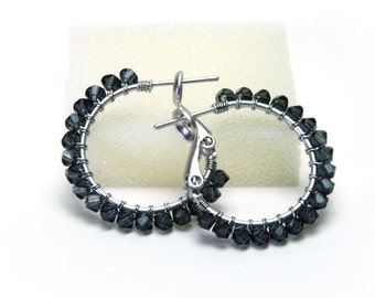 "Gray Black Crystal Hoop Earrings - Wire Wrapped Graphite Swarovski Crystal, Silver Plated Hoops (20mm, Beaded 1"")"