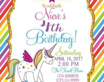 SALE: RAINBOW Unicorn PARTY invitation, Rainbow Party, Unicorn Party, Rainbow invitation, Unicorn Invitation
