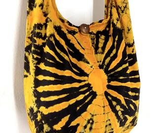 Tie Dye Bag Cotton Bag Hippie bag Hobo bag Boho bag Shoulder bag Sling bag Messenger bag Tote bag Crossbody bag Gypsy Purse Handbags Yellow