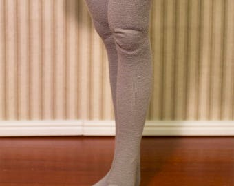 Gray thigh high stockings for minifee and slim msd sized bjd