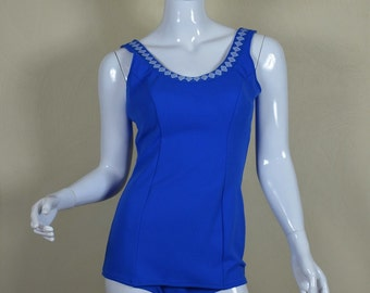 1960s Adorable Blue & White One Piece Swimsuit Bust 34-37""