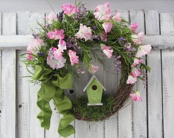 Spring/Summer Wreath, Birdhouse Wreath, Pink Wreath, Spring Wreath, Bird Wreath , Mothers Day Wreath, Farm House Wreath. Shabby Chic Wreath