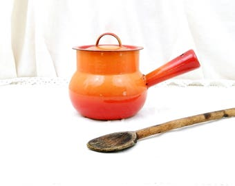 Vintage French Bright Orange Enamelware Pot Belly Pan with Lid, Enamel Sauce Pan, Cooking Pot, 1960s Retro, Kitchen, Interior, Kitchenware