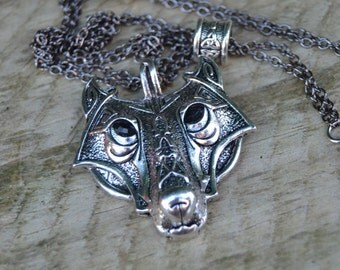 Celtic wolf necklace, silver viking wolf pendant necklace, unisex viking jewelry, gift for him, mens jewelry, mens necklace