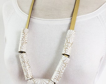 Statement paper necklace - golden leather necklace - japanese paper - floral paper necklace