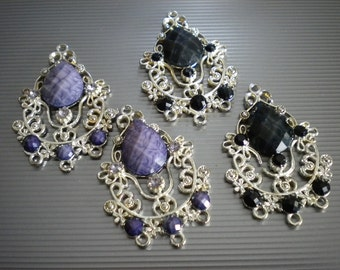 Ornate Purple or Black Chandelier Findings - 1 to 3 -  Faceted Cabachons - Floral Filigree - 2 Pieces Earring or Necklace