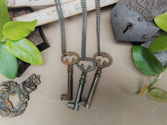 Antique Key Necklace | Ornate Furniture Key | Gunmetal Steel or Antique Brass Chain | Vintage | Steampunk | Skeleton Key | Limited #'s