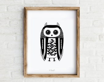 Art Print, Owl Print Black and White Owl Wall Art, Home decor