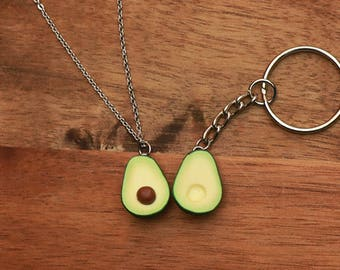 Avocado Keychain And Necklace - couple necklace , food jewelry, avocado necklace, avocado jewelry, friendship jewelry, couple jewelry