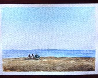 Beach Art, Sea Sunset, Couple Watercolour Painting