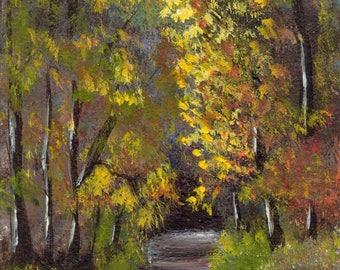 Autumn Path ACEO Landscape Fall Trees Original Acrylic ACEO landscape painting by Australian Artist Janet M Graham