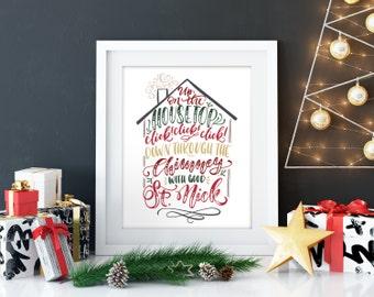 Up on the housetop, Christmas print, christmas decoration, Christmas canvas print, Holiday decor, holiday decoration, Christmas art print