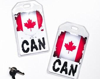 Canadian Flag Luggage Tag, Canada Pride, Boyfriend Birthday Gift, Honeymoon Gifts For Travelers