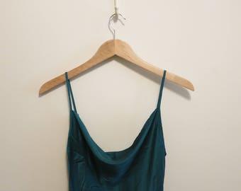 nightie night gown SILK Victoria's Secret vintage 90s emerald green pinup S
