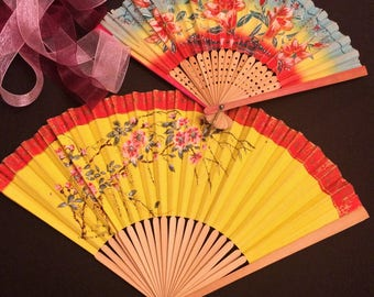 2 Colorful Vintage Floral Hand Fans, Yellow Blue Red, Tiki Decor, c 1940s 1950s, Tropical Colors, Pink Flowers Antique Hand Painted Japan