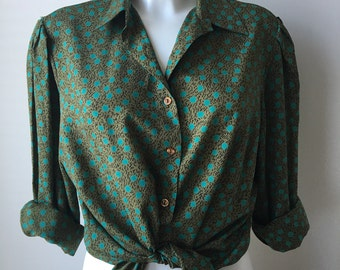 Olive blouse green polka dots long sleeves unstructured loose fit 70s designer PIERBE  bust 44 US 14