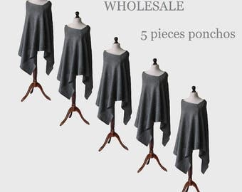 wholesale clothing, wholesale ponchos, 5 pieces ponchos, wool poncho, womens poncho, gray poncho, womens sweater, wool sweater, knit poncho