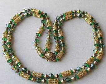 1950's Vintage 2-Strand Green Aurora Borealis Crystal & Gold Tone Filigree Tube Bead Necklace