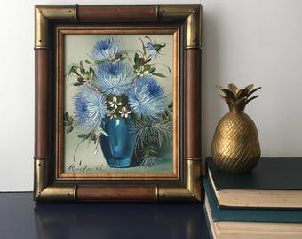 vintage framed painting blue flowers vase still life blue and greens