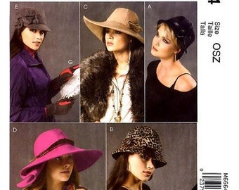 McCall's M6664 Misses' Fashion Accessories Wide Brim, Cloche and Gloves Sewing Pattern