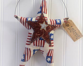 American red white blue hanging star, Primitive Patriotic Wall Hanging ideas, Handmade USA