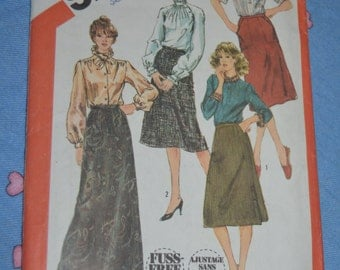Vintage 70s Simplicity  5748 Misses Set of Skirts in Two Lengths Sewing Pattern UNCUT Size 10