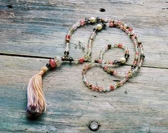 Beautiful cherry quartz mala necklace