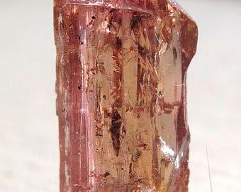 Rare Double Terminated Salmon Color Topaz crystal Ouro Preto, Brazil. 9 Carats