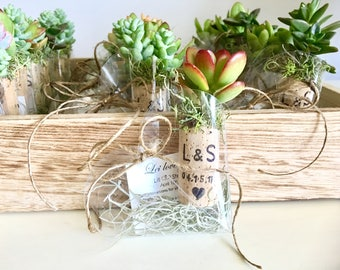 25 personalized succulent or air plant cork magnet favors with heart shaped boxes burnt names - magnets green wedding- rustic wedding